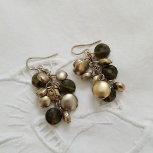 Jewelry - Gold/brasstone and brown dangle earrings.